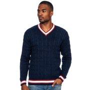 True Rock Men's Modern Fit Cable Knit V-Neck Sweater