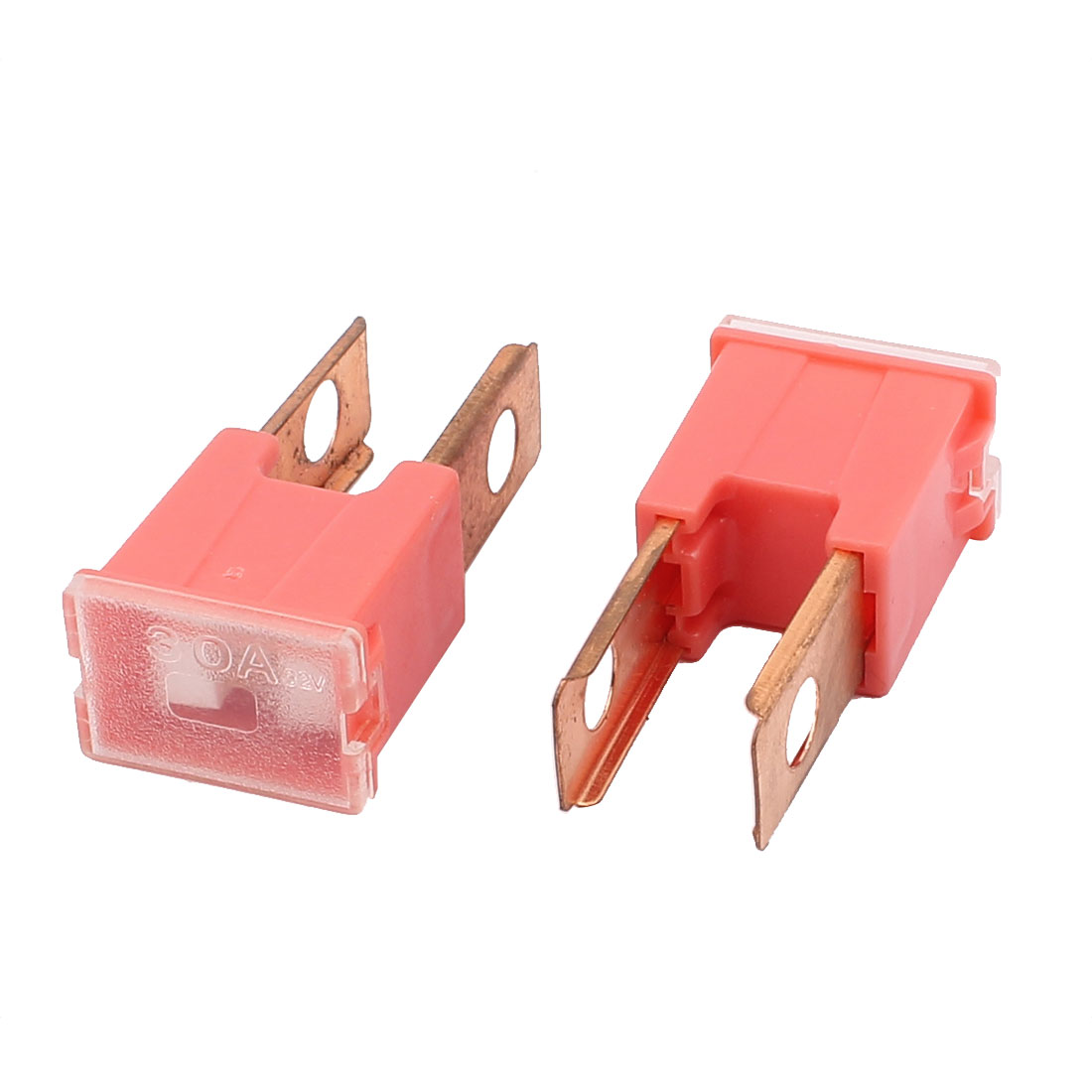 Auto Car 30A 32V Male PAL 2 Straight  Slow Blow Fuse Red 2 Pcs