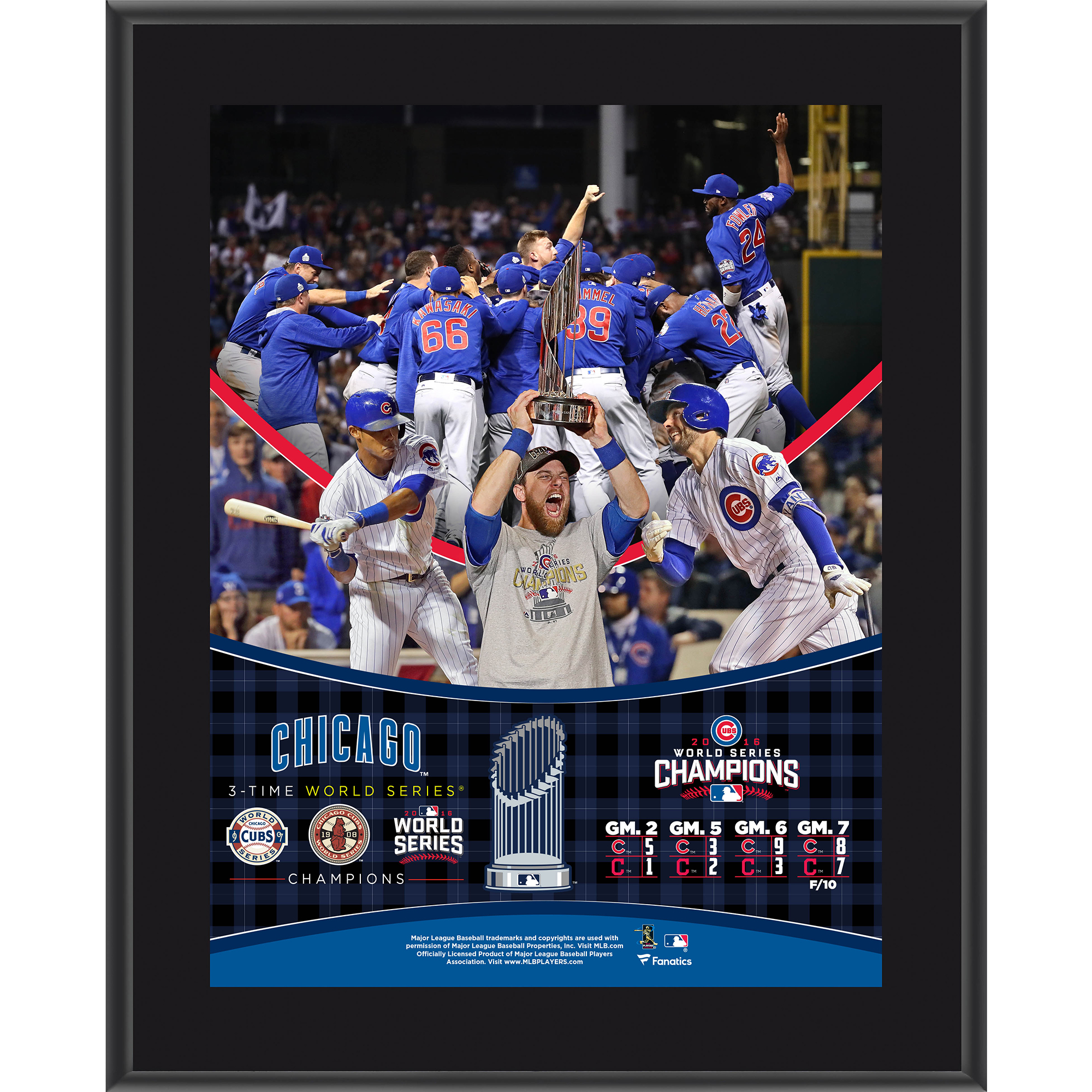 "Chicago Cubs Fanatics Authentic 2016 MLB World Series Champions 10.5"" x 13"" Sublimated Plaque - No Size"