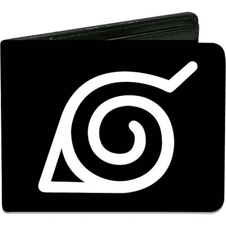 Buckle Down Mens Wallet Naruto Hidden Leaf Village Symbol Black White Accessory