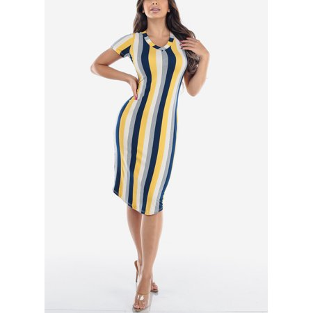 Womens Juniors Ladies Casual Everyday Basic Sexy Must Have Fashionable Beach Vacation Short Sleeve V Neck Yellow Stripe Bodycon Slim Fit Pencil Knee Length Midi Dress (Best Dresses For Beach Vacation)