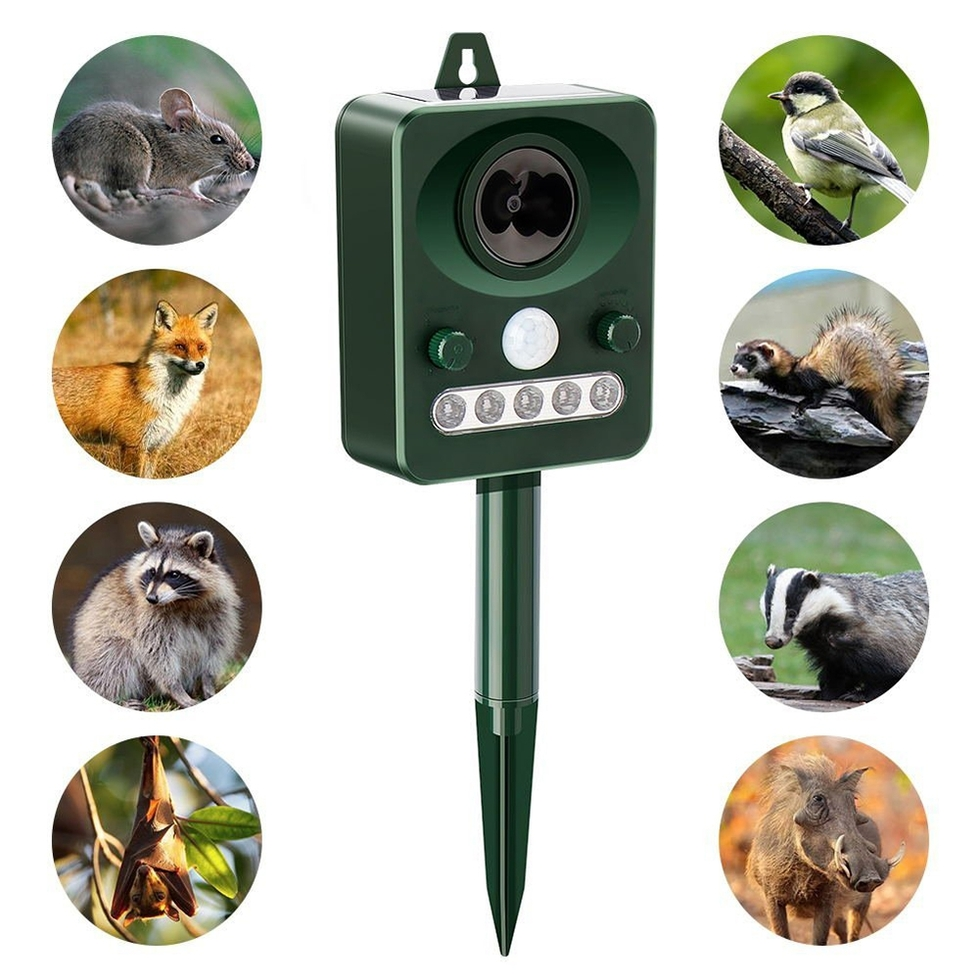 Solar Ultrasonic Animal Repellent,Outdoor Solar Powered Pest Repeller for Bird, Cats, Dogs, Squirrels, Moles, Rats