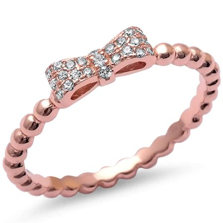 Rose Gold Plated Micro Pave Cubic Zirconia Bow Tie .925 Sterling Silver Ring Sizes 5-10