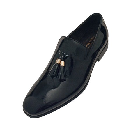 Asher Green Asher Green Mens Black Patent Leather Gold Tip Tassel