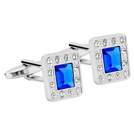 Vintage Mens Silver Square Jewels with Blue Diamond Wedding Party Gift Novelty Shirt Cuff links (Platinum Mens Cufflinks)