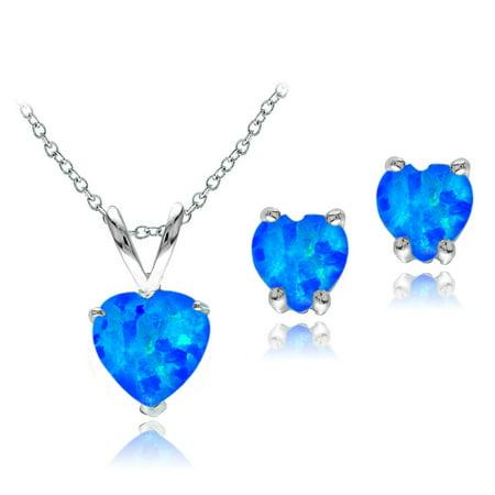 Sterling Silver Created Blue Opal Heart Solitaire Pendant & Stud Earrings Set