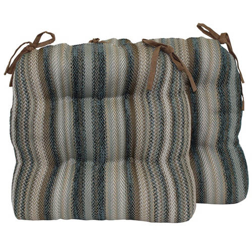 Better Homes and Gardens Text Stripe Chair Pad with Ties, Set of 2 by Brentwood Originals