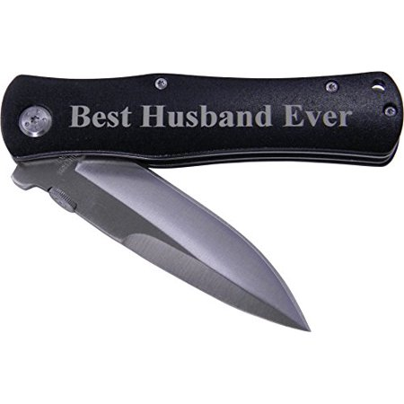 Best Husband Ever Folding Pocket Knife - Great Gift for Father's Day, Valentines Day, Anniversary, Birthday, or Christmas Gift for Husband, Dad (Black