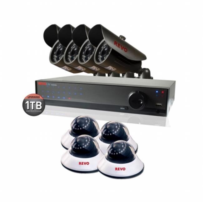 REVO America R169D4EB4E-1T 16 Channel 1TB 960H DVR Surveillance System with 8 700TVL Cameras