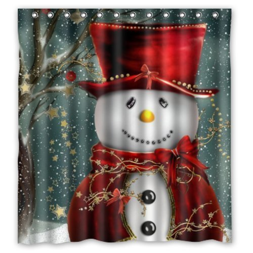 GreenDecor Christmas Snowman Waterproof Shower Curtain Set with Hooks Bathroom Accessories Size 66x72 inches
