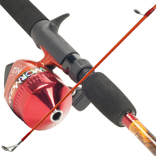 South Bend Worm Gear Fishing Rod and Spincast Reel Combo, Orange