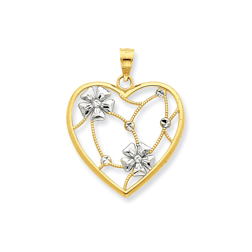 14K Yellow Gold and Rhodium Flowers in Heart Pendant