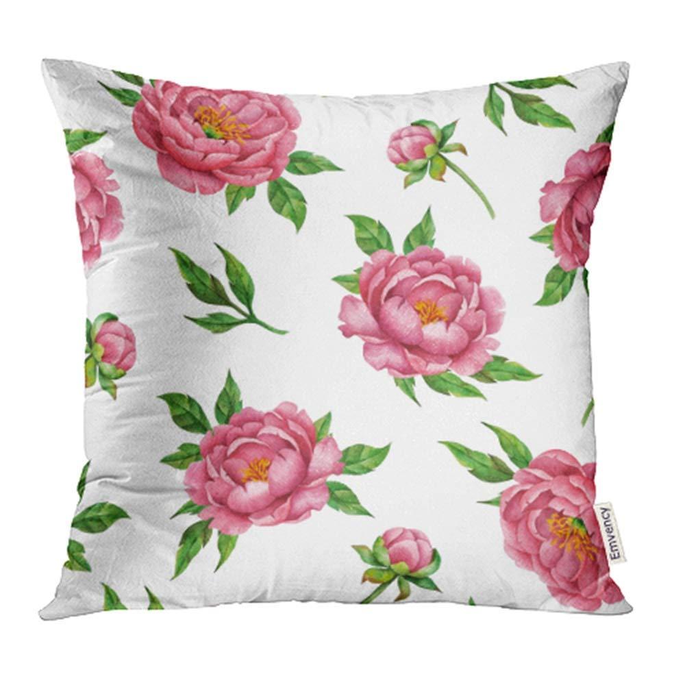 ARHOME Abstract Watercolor of Peonies and Leaves Hand Floral Pink Flowers White Bloom Pillowcase Cushion Cover 18x18 inch