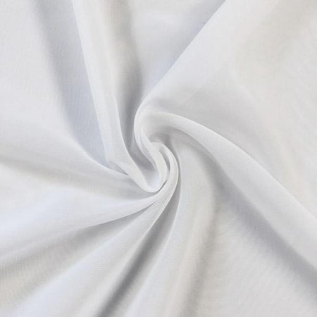 "Solid Chiffon Fabric Polyester Dress Sheer 58"" Wide By the Yard All Colors (White)"