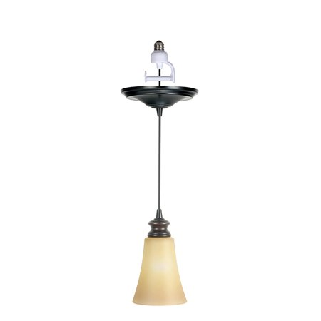 Instant Pendant Recessed Light Conversion Kit Brushed Bronze Suede Glass Shade ()