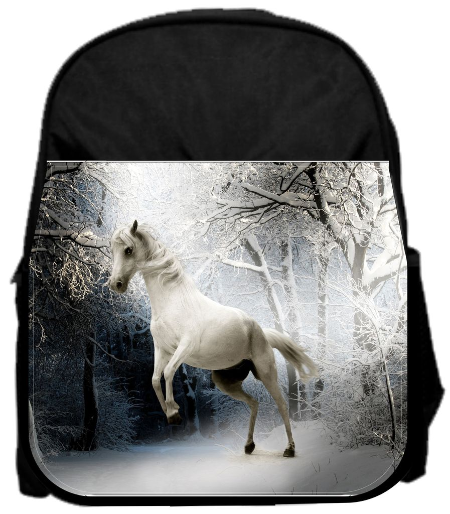 "White Horse 13"" x 10"" Black Preschool Toddler Children's Backpack by Accessory Avenue"