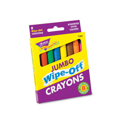 Trend Enterprises Wipe-off Crayons Jumbo 8/pk (Set of 2)