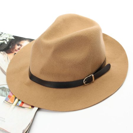 Women Ladies Wide Brim Wool Belt Cap Fedora Trilby Warm Winter Cowboy Hat](Camel Hat)