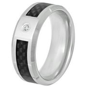 Men's Diamond Accent Ring in Tungsten with Carbon Fiber, 8mm