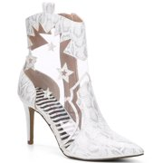 Betsey Johnson Lunas Mid-Calf Western White Snake Pointed High Heel Clear Bootie