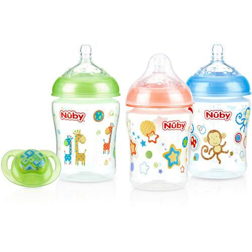 Nuby 3-Pack Natural Touch 9-oz Printed Baby Bottles with Comfort Orthodontic Pacifier, Neutral, BPA-Free