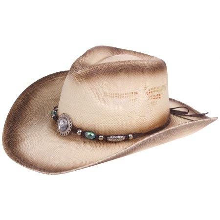 6098447b388be6 Enimay Western Outback Cowboy Hat Men's Women's Style Straw Felt Canvas  Crystal Small | Medium - Walmart.com