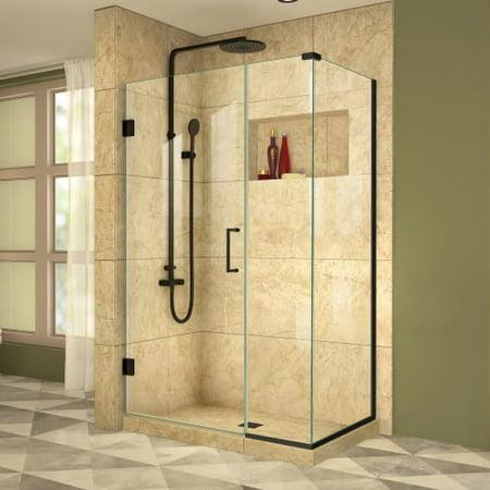 DreamLine Unidoor Plus 39 1/2 in. W x 34 3/8 in. D x 72 in. H Frameless Hinged Shower Enclosure in Satin Black