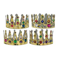 """Club Pack of 72 Gold Printed Multi-Colored Jeweled Crown Party Hats 4"""""""