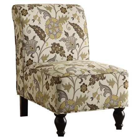 Accent Chair, Brown/Gold Floral Traditional Fabric
