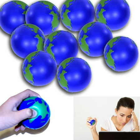World Stress Ball - Globe Stress Relief Activity Balls 12 Pack | Pressure Relieving Health Ball 12 PK | Therapeutic Relaxing Tension Release Squeeze Ball Set of 12 for All (High Tension Ball)