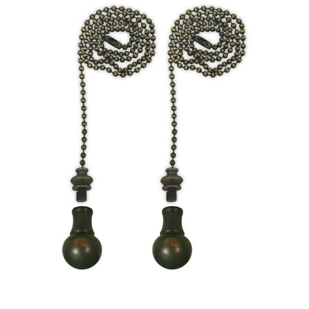 Cal Royal Antique Brass - Royal Designs Fan Pull Chain with Small Ball Finial – Antique Brass – Set of 2