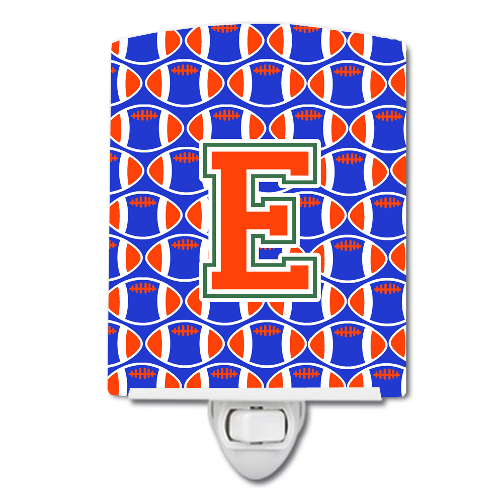 Letter E Football Green, Blue And Orange Ceramic Night