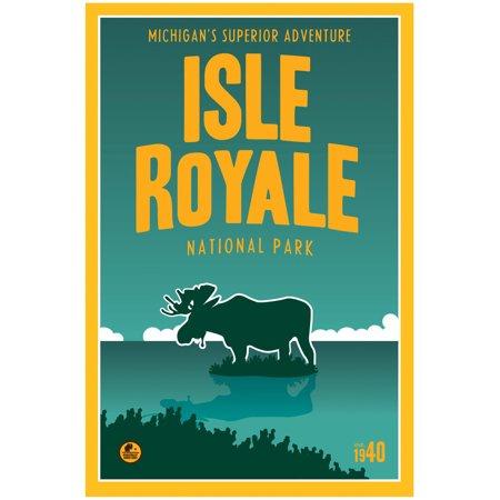 Isle Royale, Lake Superior Michigan Travel Art Print Poster by Matt Brass (30