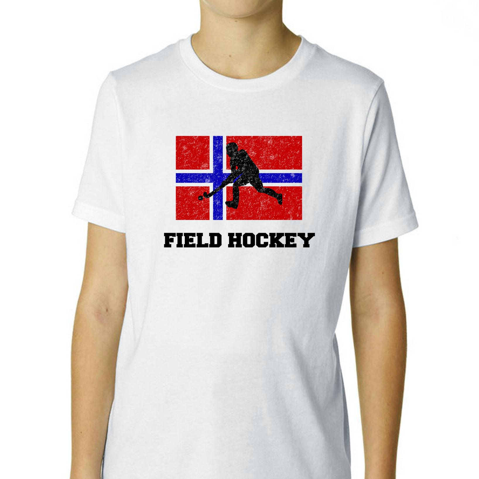 Norway Olympic Field Hockey Flag Silhouette Boy's Cotton Youth T-Shirt by Hollywood Thread