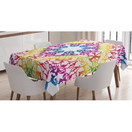 India Tablecloth, Abstract Ombre Vivid Rainbow Colored Lace Mandala Tie Dye Flower Kids Hippie Decor, Rectangular Table Cover for Dining Room Kitchen, 60 X 84 Inches, Multicolor, by Ambesonne - Tie Dye Tablecloth