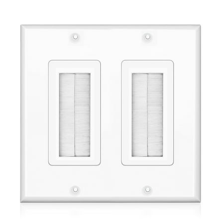 Brush Wall Plate - Double 2 Gang Cable Entry Access Brush Bristles Style Strap Opening Port Insert Socket Wiring Plug Jack Decorative Face Cover Outlet Mount Panel (White) (Cable Entry Brush)