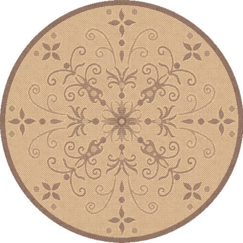 Dynamic Rugs Piazza Vente Round IndoorOutdoor Area Rug - Natural/Brown
