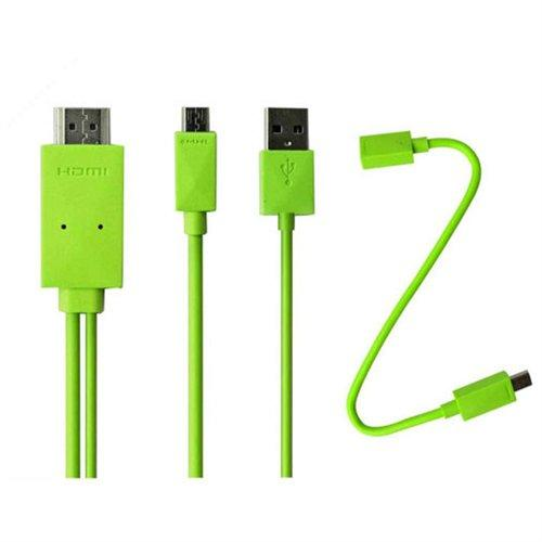 4xem 4XMHLS2S3G Micro Usb To Hdmi Mhl Adapter Pwr Cable F/ Samsung Galaxy S2/s3 Green