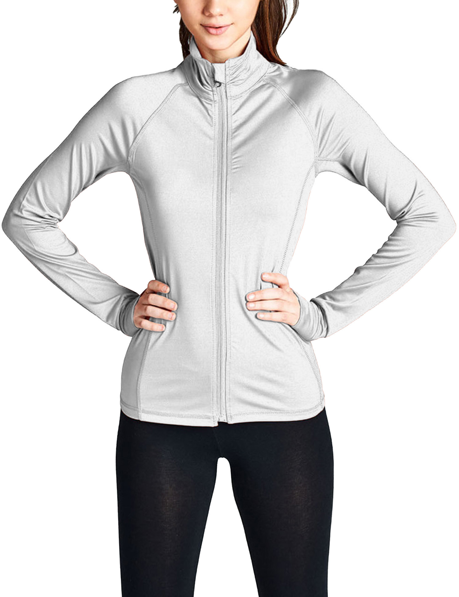 KOGMO Womens Performance Zip Up Stretchy Work Out Track Jacket