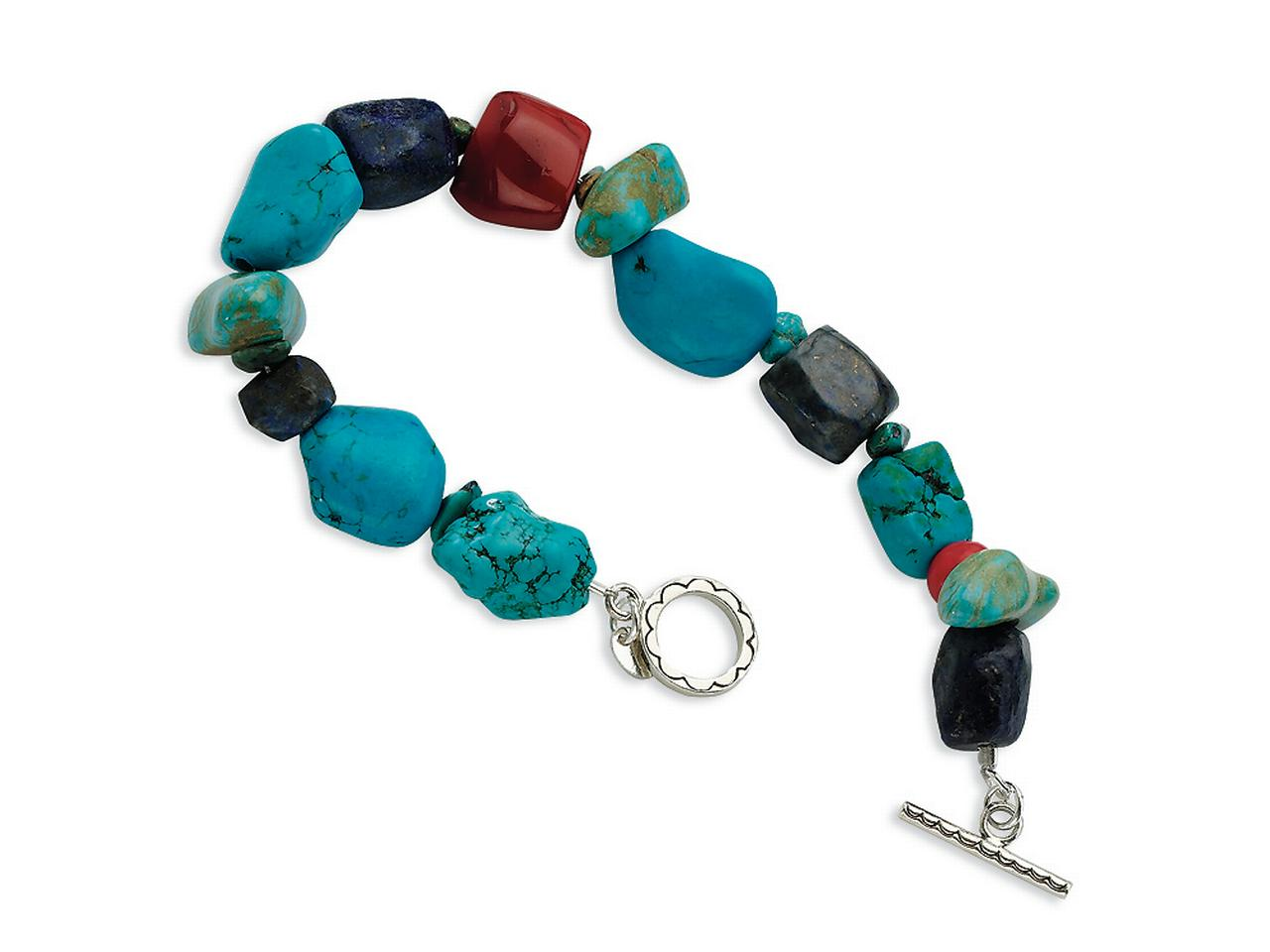 Finejewelers Sterling Silver Red Coral howlite lapis and Turquoise Bracelet by Finejewelers Collection
