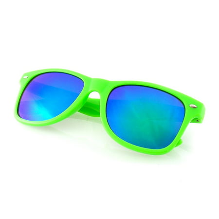 Flash Mirror Reflective Lens Neon Horned Rim Sunglasses