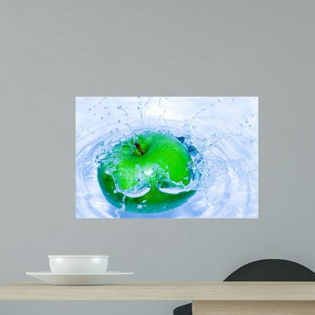 Green Apple Peel (Splash-serie Green Apple Wall Mural Decal Sticker, Wallmonkeys Peel & Stick Vinyl Graphic (18 in W x 12 in H)