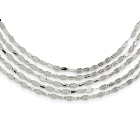 Roy Rose Jewelry Sterling Silver 5 Strand Fancy Flat Link Necklace 17'' - Everyday New Silver Strands