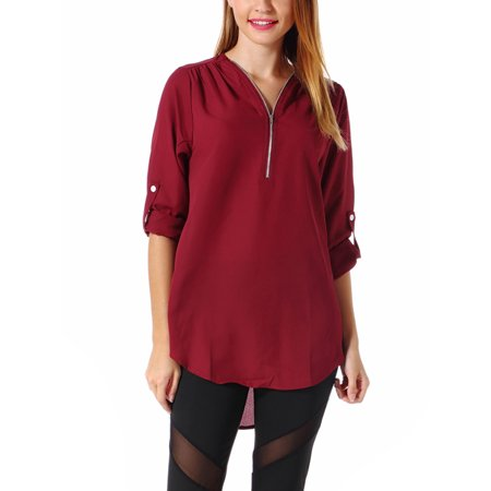 SAYFUT Women's Zipper Tops 3/4 Sleeve Blouse Chiffon Loose Casual V-Neck Blouse Top Shirts Red Wine Plus Size S-5XL