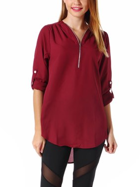 e606185f Product Image SAYFUT Women's Zipper Tops 3/4 Sleeve Blouse Chiffon Loose  Casual V-Neck Blouse