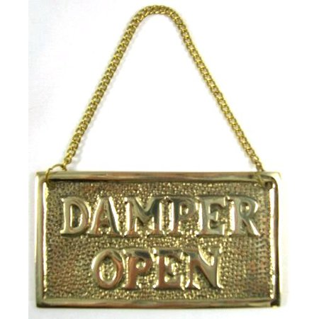 Hanging Solid Brass Fireplace Damper Open Closed Sign](Sign For Open)