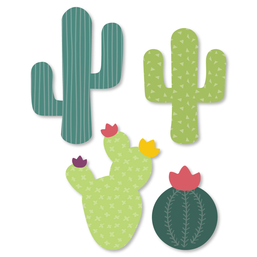 Prickly Cactus Party - Shaped Fiesta Party Cut-Outs - 24 Count