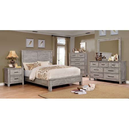 Transitional antique gray finish panel headboard bedroom - King size bedroom set with mirror headboard ...