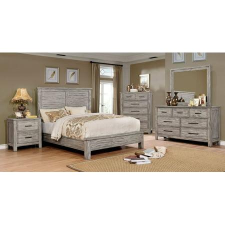 Transitional Antique Gray Finish Panel Headboard Bedroom 4pc Set Eastern King Size Bed Dresser