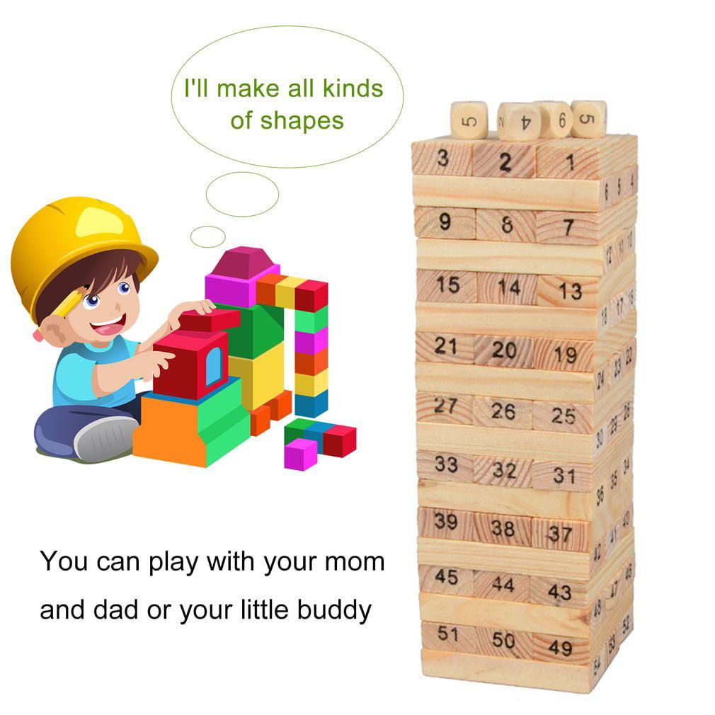 54pcsset Portable Non Toxic Children Kids Wooden Building Blocks